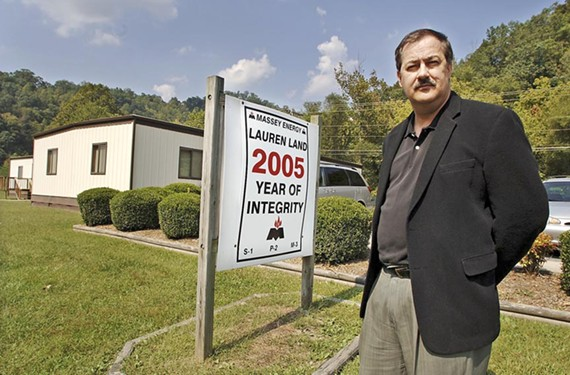 Don Blankenship, outside his field headquarters in Kentucky, faces federal charges connected with his former position at Massey Energy Co.