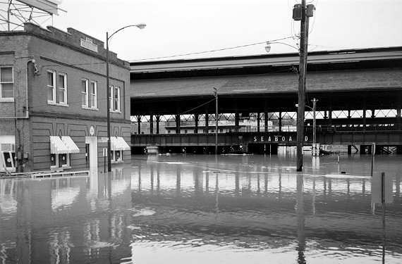 Flooding at the Richmond Train Station.