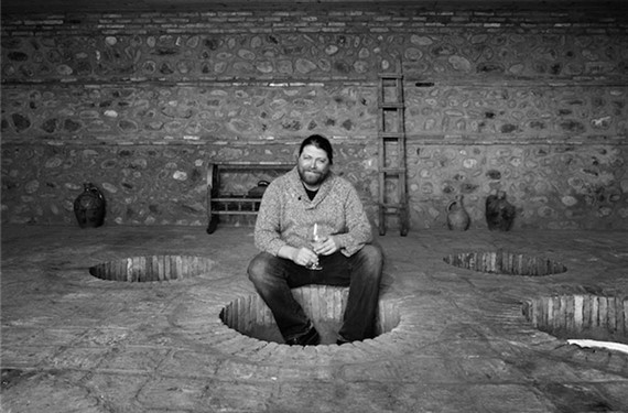 Jonathan Wurdeman, owner of Pheasant's Tears, makes natural wine in clay containers called qveri that are buried in the ground, the traditional winemaking method in the Baltic country of Georgia.