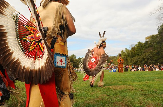 Members of the Chickahominy tribe lead a friendship dance during the First Thanksgiving Festival at Berkeley Plantation in Charles City County.