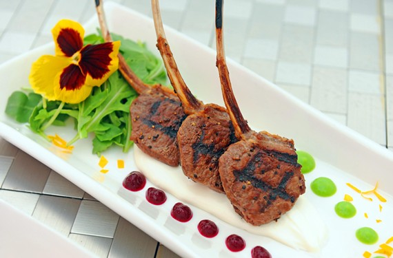 Divine Restaurant's lollipop lamb chops with goat cheese boursin, sweet pea coulis and beet puree is a dish as stunning as it is delicious.