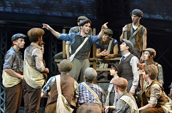 "Dan Deluca as Jack Kelly, at center, and the original North American tour company of the Broadway musical ""Newsies,"" adapted from the 1992 Disney film."