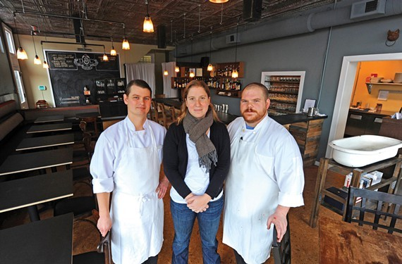 The owners of Dutch & Co. Phil Perrow, and Michelle and Caleb Shriver, are opening their second restaurant tomorrow.