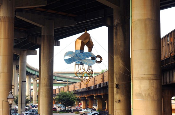 "There could be much more public art across the city, such as the work ""Skyrider,"" a 2003 sculpture by John Newman hanging near Main Street Station."