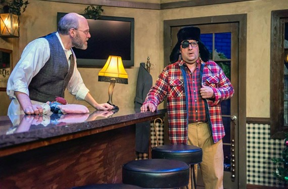 "A grown-up Ralphie (David Clark) from ""A Christmas Story"" has finally shot his eye out and is updating his bartender Mac (played by Jay O. Millman) in ""Christmas on the Rocks."""
