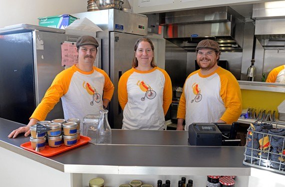 Phil Perrow and Michelle and Caleb Shriver make everything at Stroops Heroic Dogs, from the sodas and sauces to the hot dogs themselves.