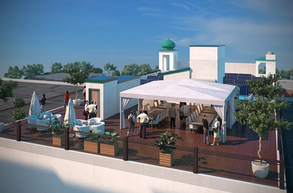 The private rooftop event space on West Broad Street has a spectacular view of the city.