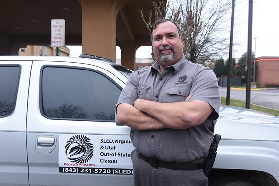 Buddy Blanton, of Pegasus Firearms in Chesterfield, teaches classes in gun safety and certification. He is is one of many Virginia instructors who have been recently flooded with requests for Utah concealed-carry permit classes. Gun owners fear that their Virginia permits will become invalid in other states, following a recent decision by state Attorney General Mark Herring to not honor outside permits.