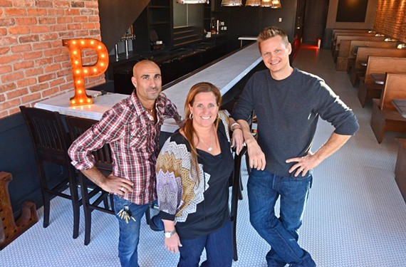 Jared Golden and Michelle Williams of Richmond Restaurant Group, pictured here with Ted Wallof at Pearl Raw Bar.