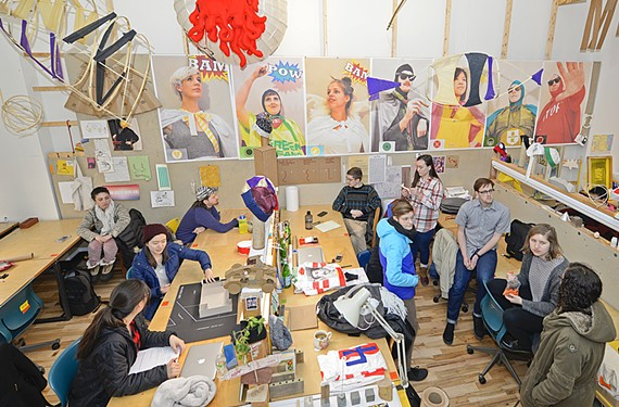 The interdisciplinary Middle of Broad, or MOB, studio class in action. Here students deal with real-world design problems and get a primer in urban living.