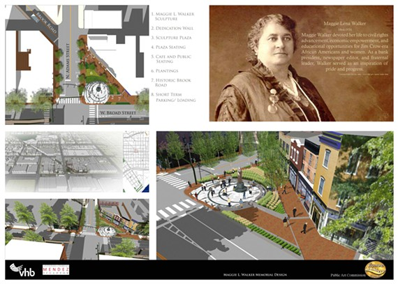 Unveiled draft renderings of the Maggie Walker memorial statue and plaza.