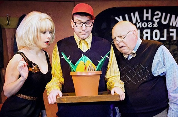 Audra Honaker as Audrey, Ian Page as the nebbish Seymour and John Hagadorn as Mr. Mushnik in the classic musical comedy about a man-eating plant.