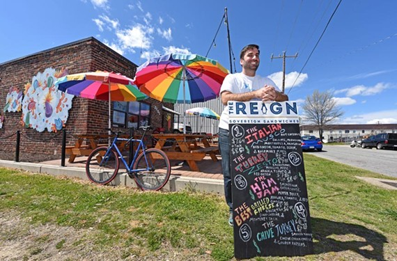 Paul Cassimus, owner of the King of Pops, has brought the Reign, his new sandwich business, to the patio culture of Scott's Addition.