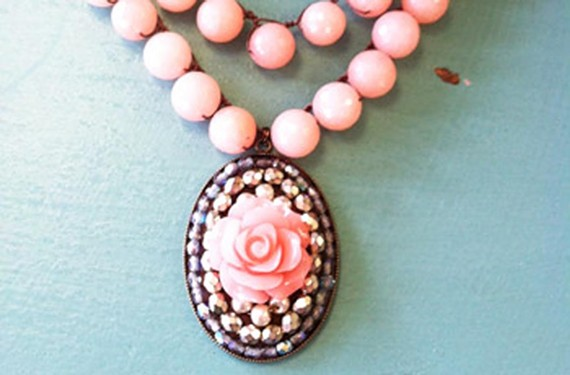 Agate double strand in peachy pink with handmade mosaic rose pendant for $225.