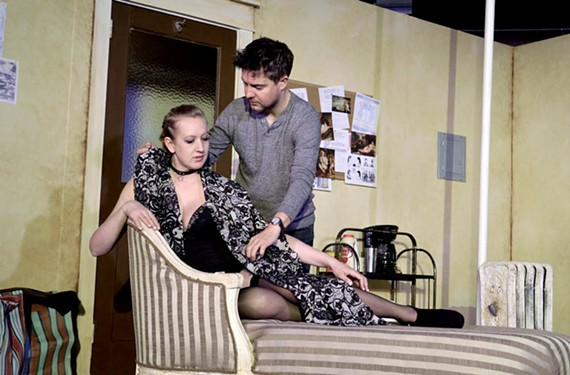 "Maggie Roop as ditzy actress Vanda Jordan and James Ricks as playwright and director Thomas Novachek in ""Venus in Fur"" directed by Matt Shofner."