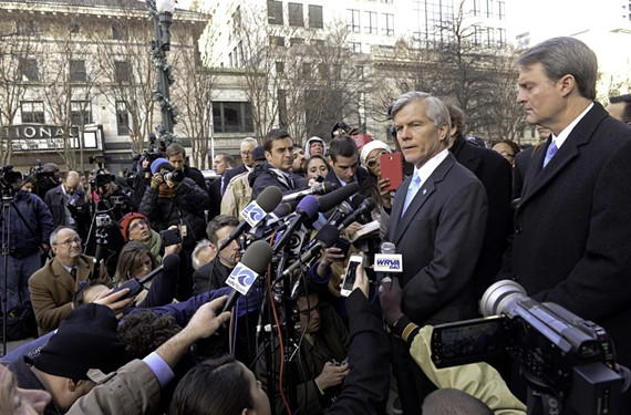 Former Gov. Bob McDonnell holds a news conference outside the federal courthouse in Richmond after his sentencing in January 2015.