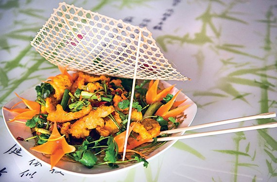 Peter Chang's bamboo fish isn't a traditional dish of either Sichuan or Hubei — the provinces that had the most influence on his food. It's a dish full of Chinese flavors rearranged and reinterpreted by a master chef.