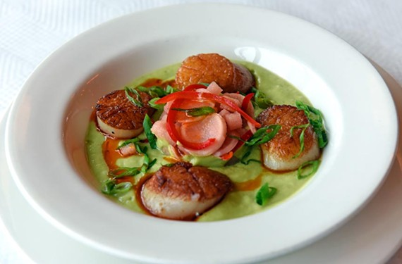 Get the most bang for your buck at lunchtime. Can Can's plat du jour one Tuesday included seared scallops over cucumber and avocado gazpacho.