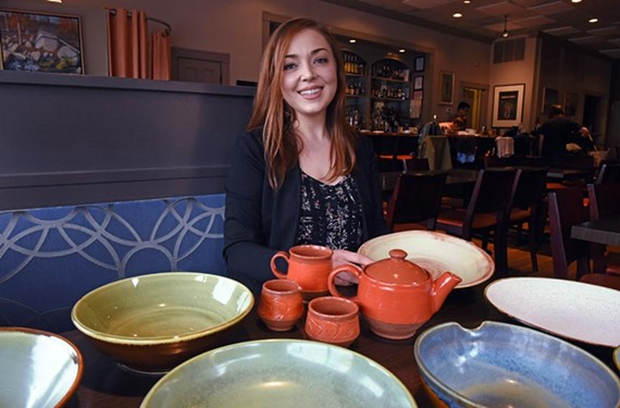 Mary Triplett handcrafts the serving ware at Heritage.