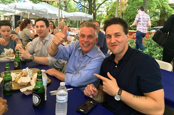 Just a couple of dudes hanging out at the Greek Festival.