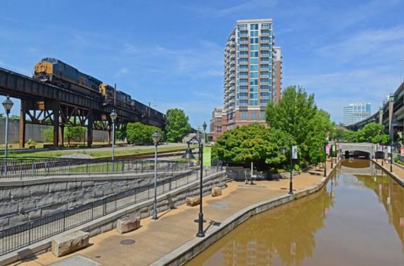 As seen from the Canal Walk a CSX coal train rumbles through downtown.