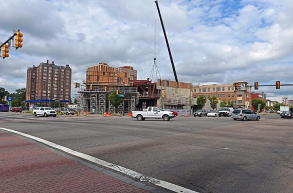 At Broad and Belvidere streets, 32 traffic lanes converge where construction of the Institute for Contemporary Art is turning heads.