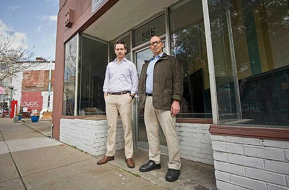 Ted Santarella (right) with  Frank Brunetto in 2012 in front of the building that would become Max's on Broad.