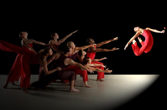 "Dancers of Starr Foster Dance Project reach for Heather Rhea in the performance of ""Rose."""