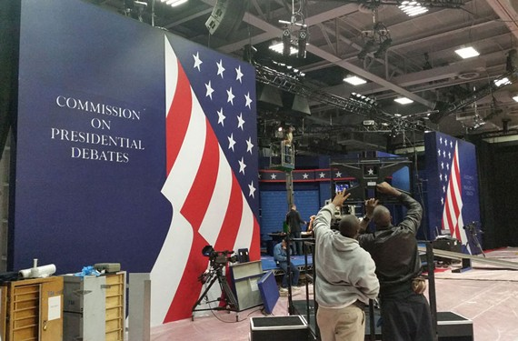 Work crews transform Longwood University's basketball gym in Willett Hall in Farmville for Tuesday night's vice presidential debate. The special set is used at all of the 2016 presidential debates.