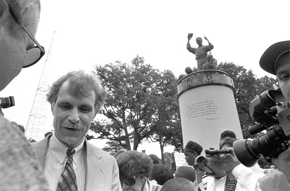 Sculptor Paul DiPasquale attended the unveiling of his depiction of Arthur Ashe on Monument Avenue.