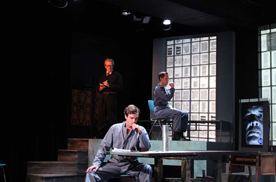 "Actors Christopher Dunn, Charley Raintree and Bartley Mullin perform in the ""1984"" world of Firehouse's ""Ubu 84."""
