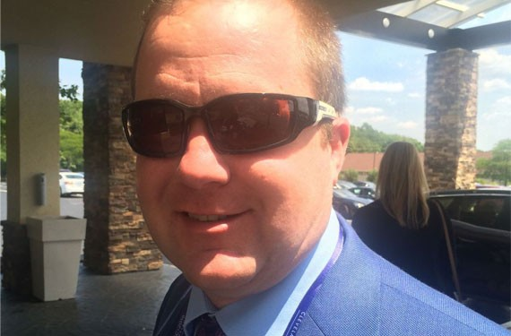 Corey Stewart, the chairman of Donald Trump's Virginia campaign, poses for a photo in Strongsville, Ohio during the Republican National Convention in July 2016.