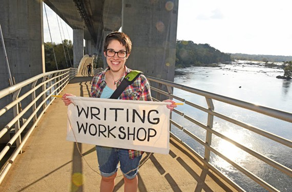 Artist Lauren Miner stands near Belle Isle, where she will be conducting a Halloween-themed writing workshop this weekend.