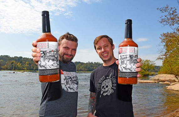 Bartenders Austin Green (left) was tired of making Bloody Marys on the fly, so he decided to bottle his own mix and went into business with partners Rob Wooten (right) and Greg White (not pictured).