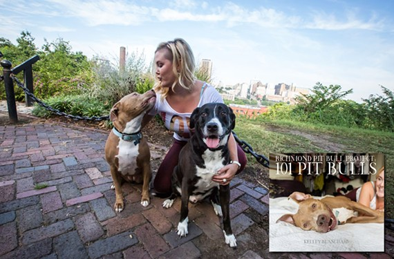 Kelley Blanchard gets some love from her rescued dogs, Maddox and Blueberry. Blanchard helped pull together a coffee table book of more than 101 local pit bull-type dogs partly to help raise awareness for overcrowded shelters.