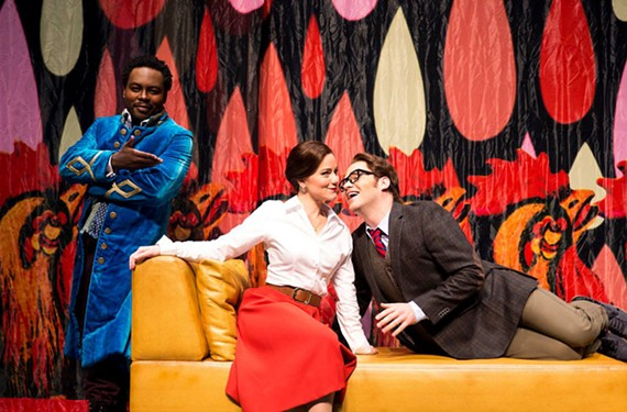 """Will Liverman plays Figaro, Megan Marino is Rosina and Andrew Owens is Count Almaviva in """"The Barber of Seville."""""""