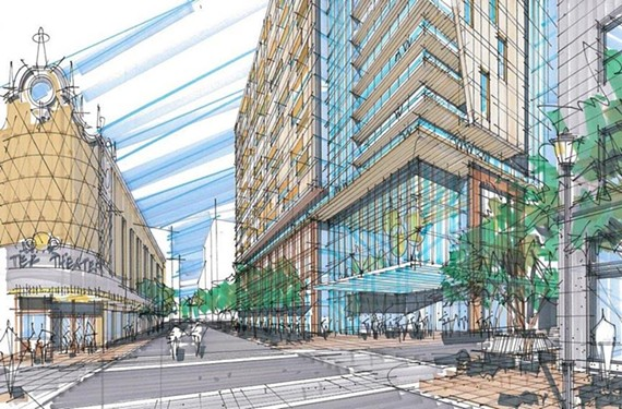 Renderings of a new downtown development project south of Carpenter Theatre show options for one tower or two above a parking garage and ground-floor retail.