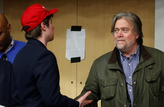 Steve Bannon speaks with a Wisconsin voter during Donald Trump's campaign.