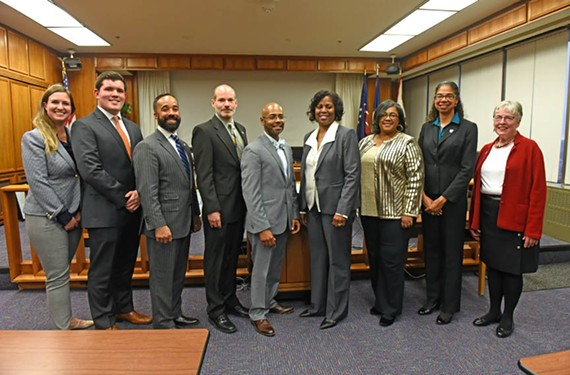 Richmond's new School Board: Elizabeth Doerr, Scott Barlow, Jeff Bourne, Jonathan Young, Patrick Sapini, Dawn Page, Felicia Cosby, Nadine Marsh-Carter and Linda Owen.
