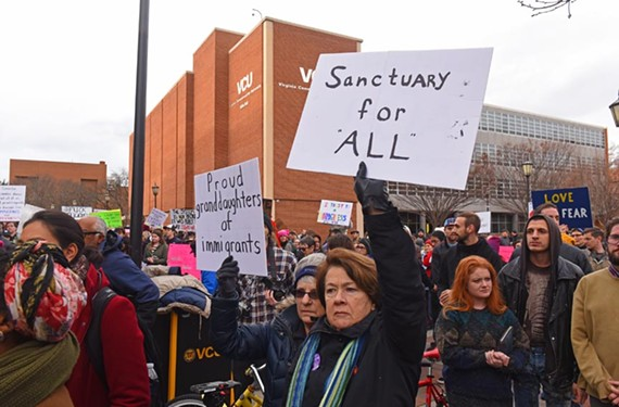 A rally at Virginia Commonwealth University on Jan. 29 drew more than 500 people who expressed support for refugees and immigrants.