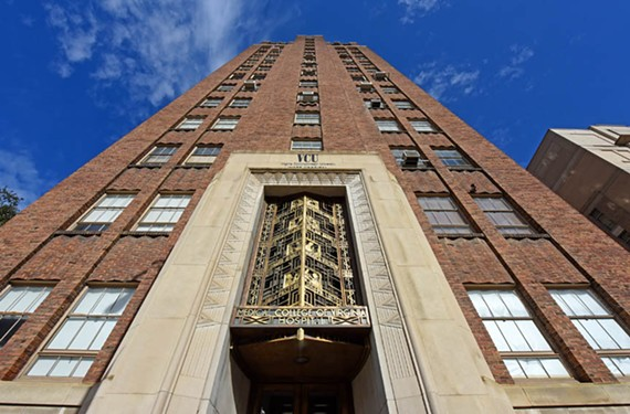 The West Hospital at VCU was designed in 1940 by Baskervill and Son.  Its brick-and-stone Broad Street facade is punctuated by a bronze grille illustrating prominent figures in medicine.