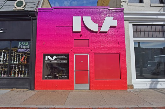The new logo for the Institute for Contemporary Art takes over a smaller headquarters building at 818 W. Broad St.