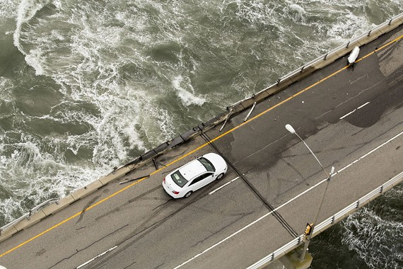 Missing guard rail along a section of the Chesapeake Bay Bridge-Tunnel where a tractor-trailer went over the side at the 15-mile marker southbound, killing the driver of according to officials Thursday afternoon Feb.9, 2017.