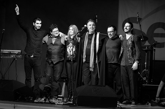 "Sergio Dias, at center with a scarf, is one of the founders of Os Mutantes (""The Mutants"") which has influenced generations of popular American musicians."