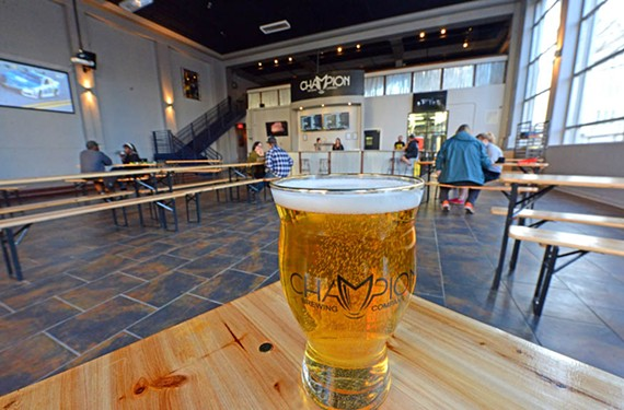 Champion Brewing Co., based in Charlottesville, is brewing beer in the old Aurora space, as well as offering its flagship brews. Shower Beer, a Czech-style pilsner, is one of the first on offer.