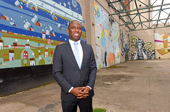 Richmond Mayor Levar Stoney hopes to enliven City Hall with murals like these in the old power plant on the Canal Walk.