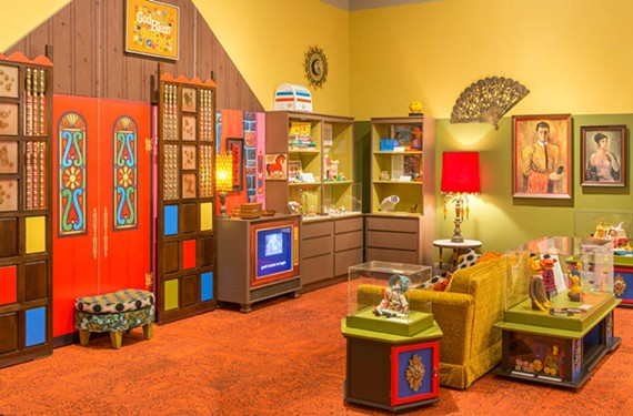 "A look at a 1970s room, complete with shag carpet and videos of vintage commercials, from the traveling exhibit ""Toys of the 50s, 60s and 70s"" organized by the Minnesota History Center and making its final stop at the Virginia Historical Society."
