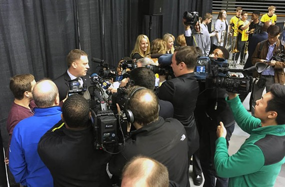 VCU's new head basketball coach, Mike Rhoades, is introduced to media and an enthusiastic crowd of fans at the Siegel Center.