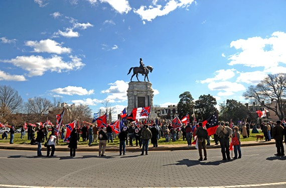 The Sons of Confederate Veterans play host to a 2012 rally along Monument Avenue, ending at the statue of Robert E. Lee.