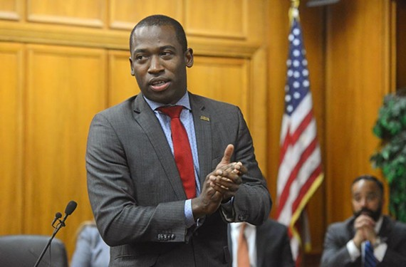 Richmond Mayor Levar Stoney, speaking during a Richmond School Board meeting, turned 36 during his first 100 days in office.